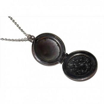 Flower Photo Locket Necklace Antiqued in Women's Lockets