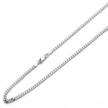 Sterling Silver 3mm Italian Solid Curb Link Chain Necklace(16- 18- 20- 22- 24- 16- 30 Inch) - CB118SQSV2J