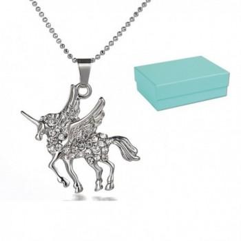 Unicorn Pendant Necklace for Girls- Women- Kids- White Gold Plated Jewel w/ Gift Box (BLU LILY) - C0188T8UEZN