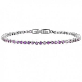 """Rhodium Plated Stunning Round Pink Crystal Women's Tennis Bracelet 7"""" - C8125076YHH"""