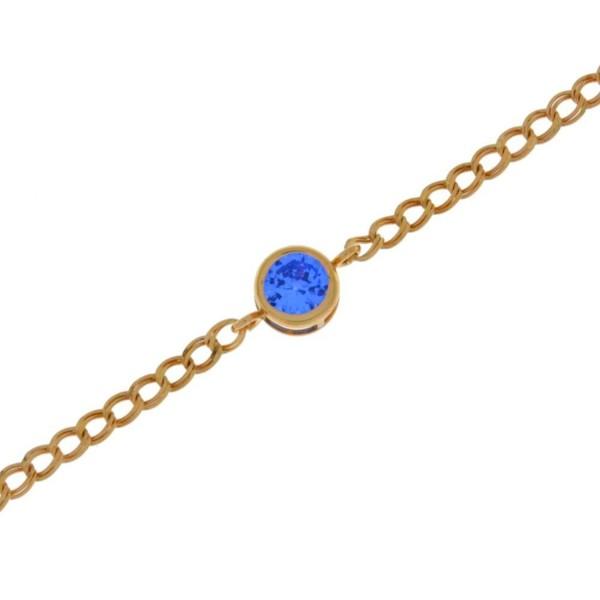 Simulated Tanzanite Round Bezel Bracelet 14Kt Rose Gold Plated Over .925 Sterling Silver - C61281UG3Z3