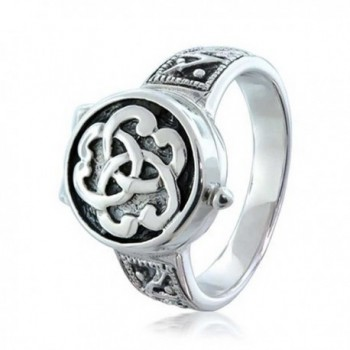 Bling Jewelry Triquetra Celtic Knot Cremation Urn Locket Sterling Silver Ring - CR115YNKISJ