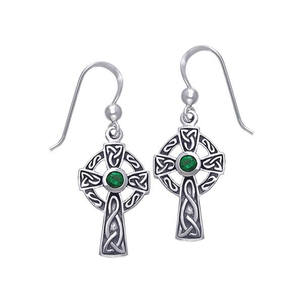 dc0bf5fe7 Jewelry Trends Sterling Silver Celtic Cross Dangle Earrings with Dark Green  Glass - CY11VN8DVR9