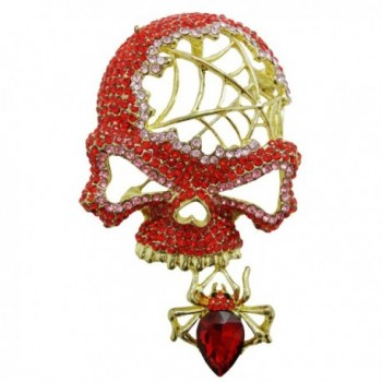 TTjewelry Fashion Retro Style Halloween Skull Spider Red Rhinestone Crystal Brooch Pin Pendant - C6124TJDPFV