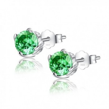 Sterling Simulated Birthstone Earrings Zirconia - 05-May-Simulated Emerald - CA18882N0E2