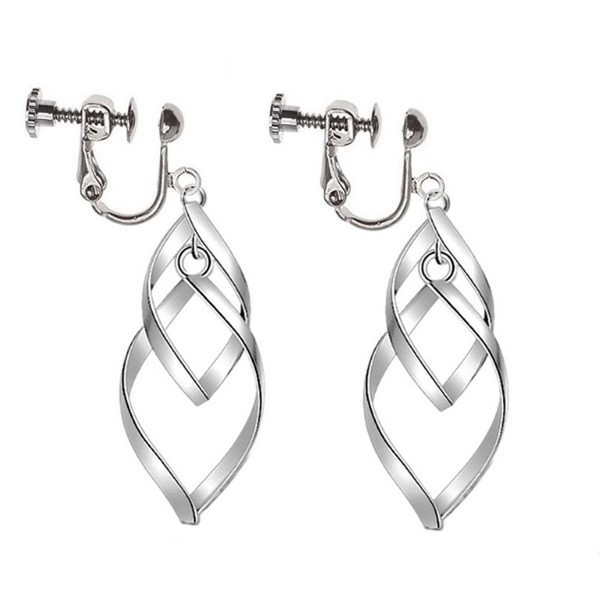 Clip On Earrings Hollow Leaf Earrings Dangle No Piercing Silver Tone Plated Proms - CO187WHTLNU