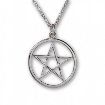Pentacle Polished Silver Finish Medieval Renaissance Pendant Necklace - CW11QH5J8S9
