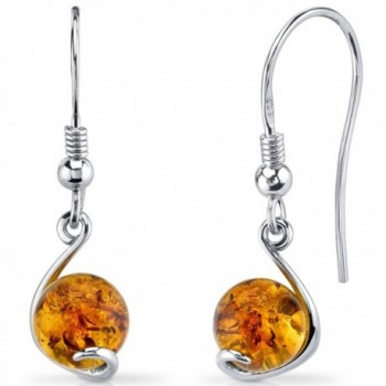 Baltic Amber Spherical Fishhook Earrings Sterling Silver Cognac Color - CF11Y5MAWRV
