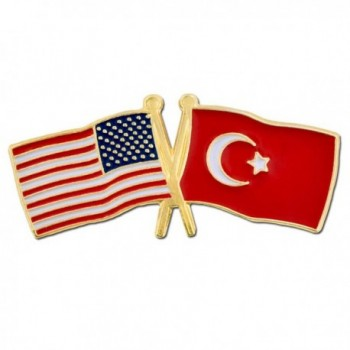 PinMart's USA and Turkey Crossed Friendship Flag Enamel Lapel Pin - CS119PEPM61