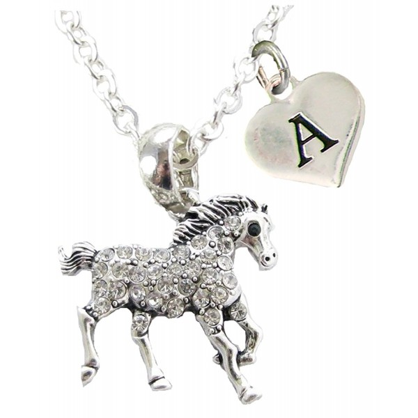 Custom Crystal Horse Silver Necklace Jewelry Choose Initial Equestrian - CB182Z6Y9QG