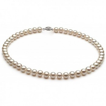 Everyday 10K Gold White Freshwater Cultured Pearl Necklace- 18 Inch Princess Length - CY12O1X1K5D
