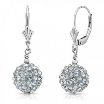Sterling Silver Round Crystal Ball Drop Dangle Earrings with Leverbacks - C512N2MU8Y9