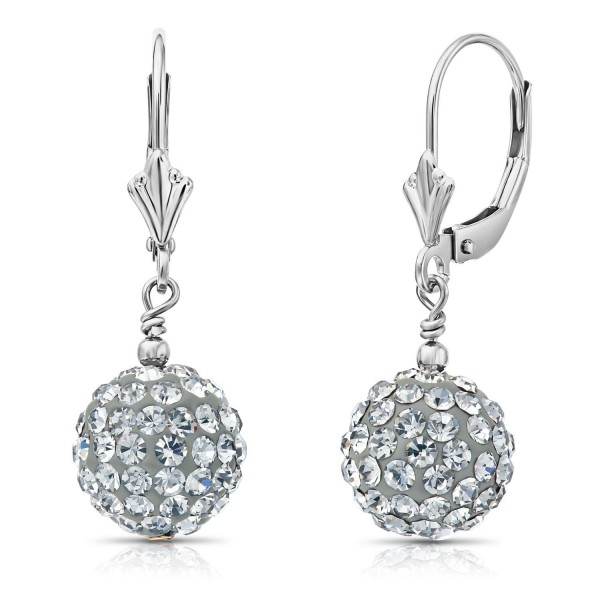 eb86c53c29e61 Sterling Silver Round Crystal Ball Drop Dangle Earrings with Leverbacks -  C512N2MU8Y9