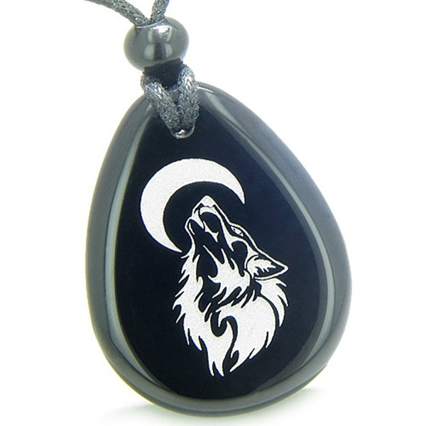 Amulet Brave and Protection Howling Wolf Moon Powers Black Agate Pendant Necklace - CP11BZQ3ZBB