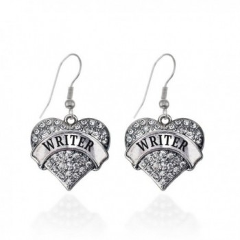 Writer Pave Heart Earrings French Hook Clear Crystal Rhinestones - CS1240KTZ53