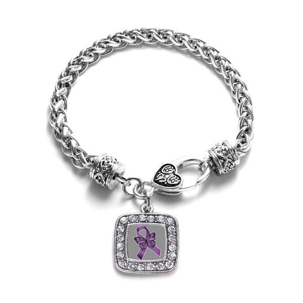 Fibromyalgia Awareness Classic Silver Plated Square Crystal Charm Bracelet - CN11K6N6IL3