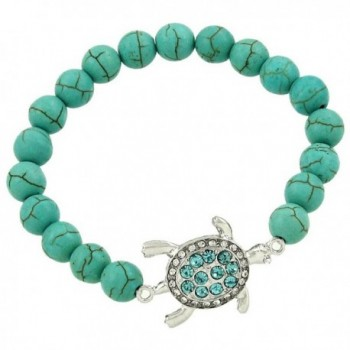 DianaL Boutique Sea Turtle Elastic Bracelet Blue and Clear Crystal Turtle Charm Gift Boxed - CI125ZGQDH9