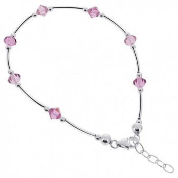 Gem Avenue Sterling Silver Swarovski Elements Pink Bicone Crystal Ankle Bracelet 9 to 10 inch Adjustable - CB111CRMFFP