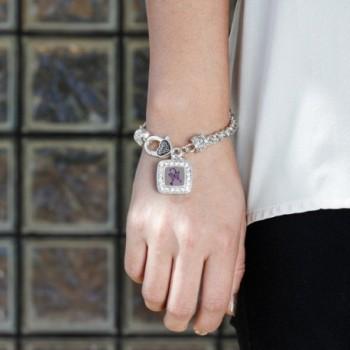 Fibromyalgia Awareness Classic Silver Bracelet in Women's Link Bracelets