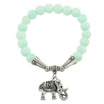 Falari Elephant Lucky Charm Natural Stone Bracelet Aqua Jade B2448-AJ - C1124HGLOD1