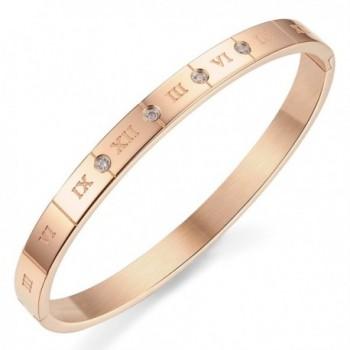 Titanium Steel Roman Numerals Cubic Zirconia bracelet for Lovers - women(rose gold) - CA127R9QECB