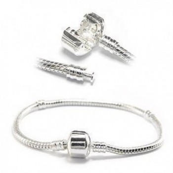 Snake Chain Classic Bead Barrel Clasp Bracelet for European Charms - CK11DG9LIU5
