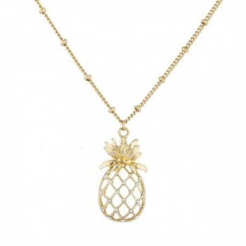 Lux Accessories Cutout Tropical Fruit Pineapple Pendant Necklace - Gold - CB12NV3GLOZ