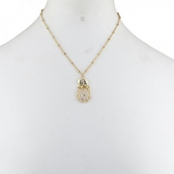 Lux Accessories Tropical Pineapple Necklace