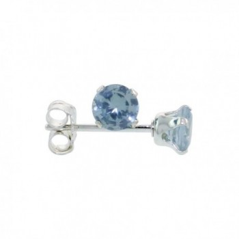 Sterling Silver Cubic Zirconia Blue Topaz Earrings Studs 4 mm Topaz Blue Color 1/2 carat/pair - CG114E29D9B