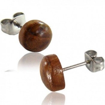 Earth Accessories Stainless Steel Rounded Organic Wood Stud Earrings - Teak Wood - C317YRSL0AN