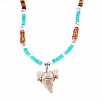 Shark Tooth Pendant on Tiger Wood and Light Blue Puka Shell Necklace - CJ12EPG8GHP