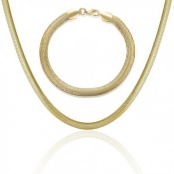 Mytys Brass Alloy Link Curb Chain Necklace Bracelet Unisex Accessory Jewelry for Men Women - Gold - CL182002OOW