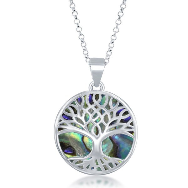 Sterling Silver Natural Abalone Pendant - Abalone - CX12KHR5Q01