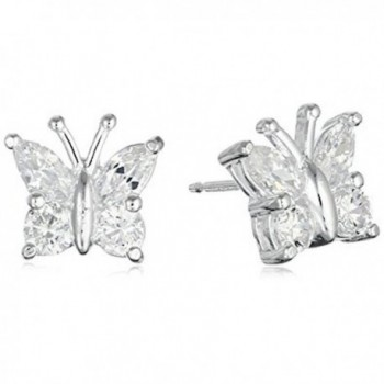 MOBODY BUTTERFLY STAINLESS STEEL EARRINGS - White Topaz - CX12O9SAPC8