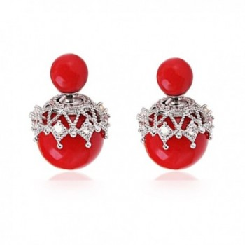 olyclass Fashion imitation-pearls stud earrings for women earrings jewelry Red - CO184UKTX26