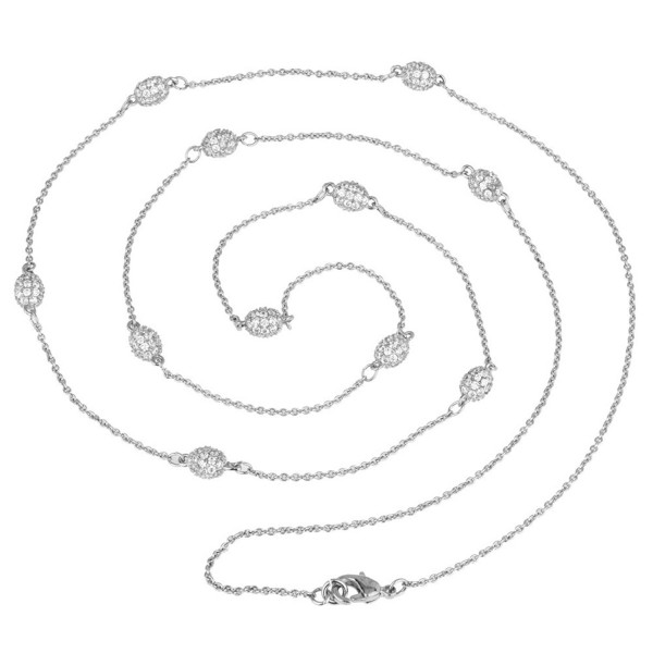 "Pavé CZ Oval Ball Station Silver Tone Long Strand Necklace 36"" - CP12M1L6PBP"