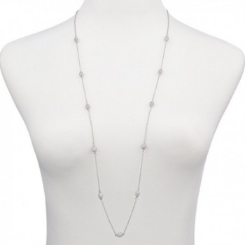Pav%C3%A9 Station Silver Strand Necklace