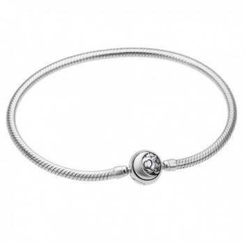 Rhodium On Sterling Silver Snake Bracelet with Round Sun Moon Bead Clasp for European Charms - CT12MZX2MLH