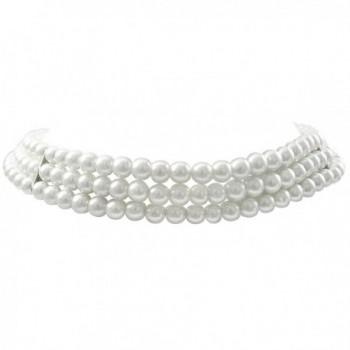 "Isaac Kieran Rhodium Finish 6-mm White Faux Pearl 3-Strand Choker Necklace- 13+3"" Extender - CW12OCN13J0"