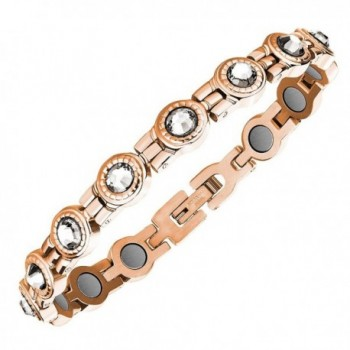 Swarovski Crystal Bracelet Magnetic Womens Rose Gold Clear Crystals with Gift Box - CJ12BBPHVTR