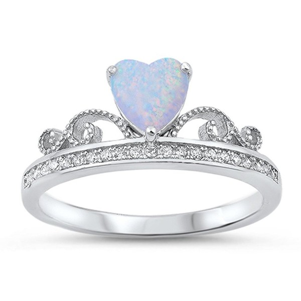 Sterling Silver Tiara Crown Ring - White Simulated Opal - CQ12MXBBA84