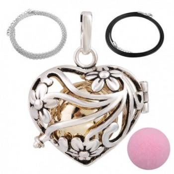 Eudora Harmony Bola Mini Heart Pendant Wishing Ball Aromatherapy Essential Oil Diffuser 20 Inches Necklace - CP12L5OTHKF