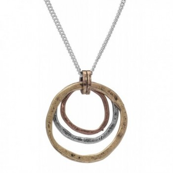 Of Earth and Ocean Handmade Sunrise Pendant Necklace- Triple Circles in Tri-Tone Copper- Brass and Silver - CR11YZW6YLP