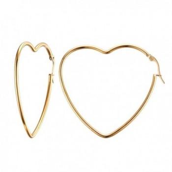 UM Jewelry Stainless Steel Womens Love Heart Big Hoop Earrings Gold Tone - CQ12KLUUO2T