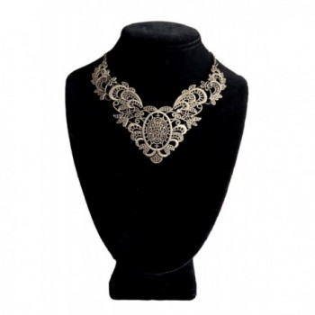 Victorian Filigree 3D Cut Out Vintage Statement Choker Necklace by Pashal Design - C412NH81E2T