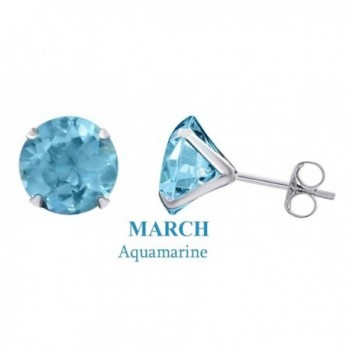 10K Solid White Gold 5mm Round Cut Simulated Gemstone Stud Earrings - Simulated-Aquamarine - CB12N1GW85W