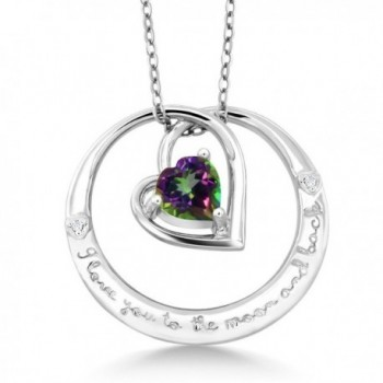 """925 Sterling Silver """"I love you to the moon and back"""" Mystic Green Topaz and Diamond Pendant - CL182266LSC"""