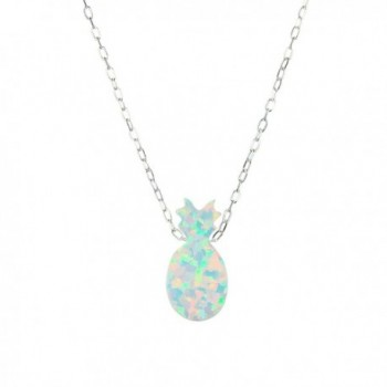 Opal Pineapple Necklace Pendant Sterling Silver Tropical Fruit Pendant Necklace - CB1864AINUC