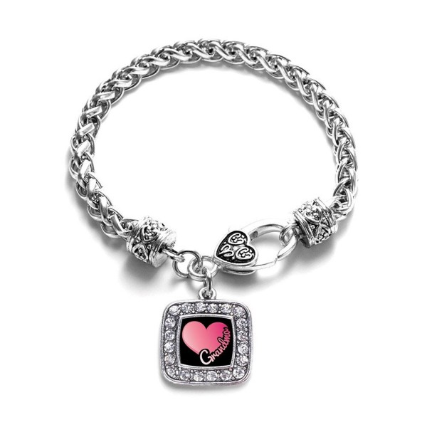 Grandma Classic Silver Plated Square Crystal Charm Bracelet - C411KYW8T09