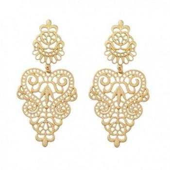 Peony.T Women's Bohemian Filigree Chandelier Hollow Lace Pattern Statement Dangle Earrings in Gold Color - CA186XHSX4C